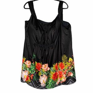 Swimsuits for All Black Floral Tankini B2 0642